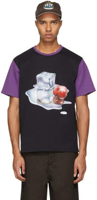 Acne Studios Black and Purple Spilled Cocktail Nite T-Shirt