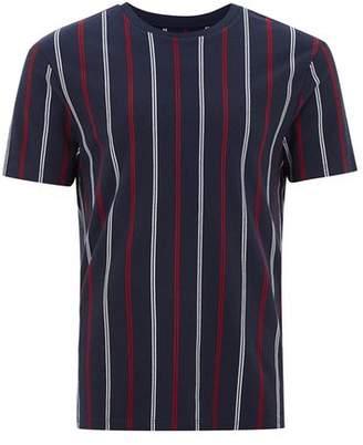 Topman Mens Navy Slim Vertical Stripe T-Shirt