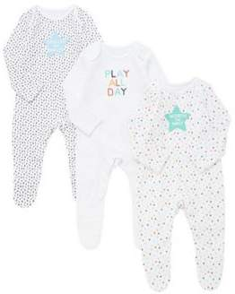 F&F 3 Pack Of Slogan Sleepsuits 0-1 months