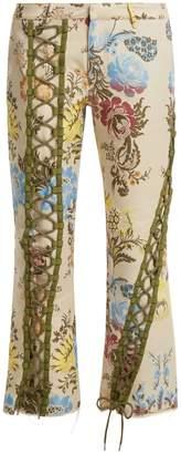 Marques Almeida MARQUES'ALMEIDA Lace-up floral-jacquard trousers