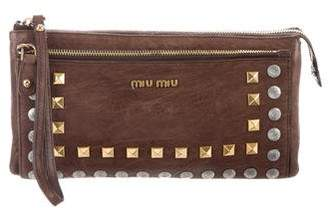 Miu Miu Studded Distressed Wristlet