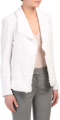 Long Sleeve Open Front Jacket With Fringe
