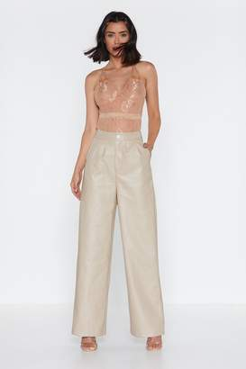Nasty Gal Wide on Time Faux Leather Pants