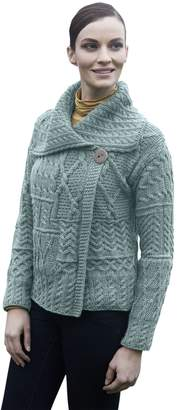 Carraigdonn Carraig Donn Ladies Patchwork 1 Button Collar Wool Irish Cardigan
