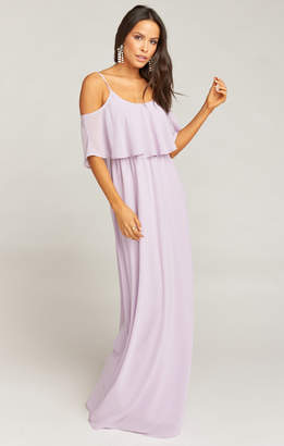 Show Me Your Mumu Caitlin Ruffle Maxi Dress ~ Violet Chiffon