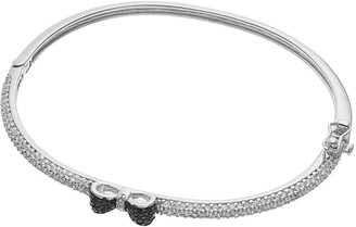 Sophie Miller Sterling Silver Black & White Cubic Zirconia Bow Bangle Bracelet