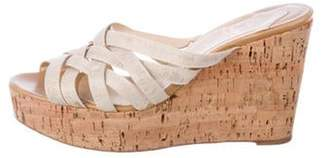 Christian Louboutin Woven Wedge Sandals Tan Woven Wedge Sandals