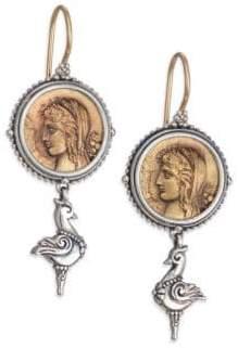 Konstantino Kerma Bronze & Sterling Silver Coin Drop Earrings
