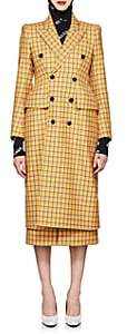Balenciaga Women's Hourglass Checked Virgin Wool Double-Breasted Coat - Yellow