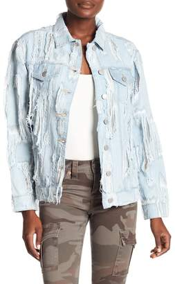 True Religion Destroyed Denim Trucker Jacket