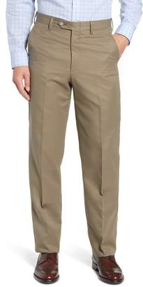 Berle Classic Fit Flat Front Microfiber Performance Trousers