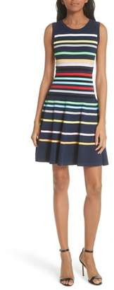 Milly Rainbow Stripe Fit & Flare Dress