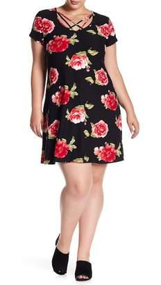 Planet Gold Crisscross Neck Floral T-Shirt Dress (Plus Size)