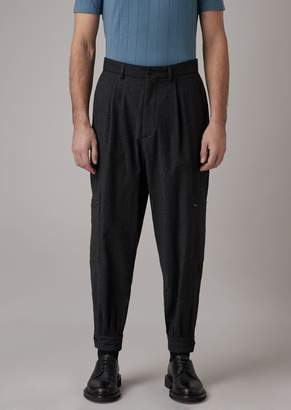 Giorgio Armani Oversized Tumbled Wool Flannel Pants With A Pocket On The Leg