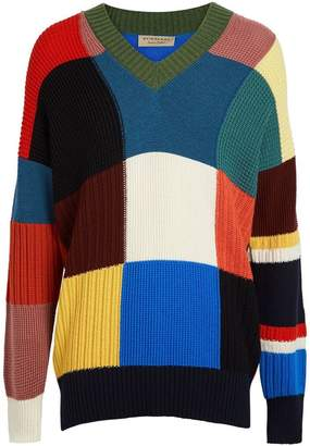 Burberry Patchwork Wool V-neck Sweater