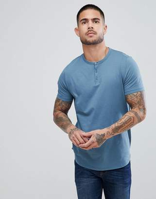 Asos DESIGN T-Shirt With Grandad Neck In Blue