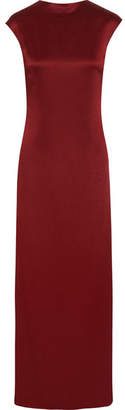 Rosetta Getty Draped Backless Satin Gown - Burgundy