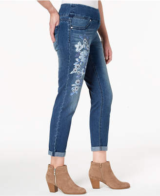 Style&Co. Style & Co Petite Floral-Graphic Pull-On Boyfriend-Fit Ankle Jeans, Created for Macy's