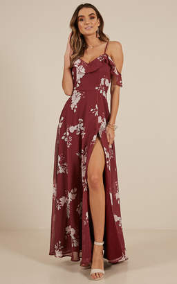 Showpo Sway Away maxi dress in Wine Floral - 6 (XS) Off The Shoulder