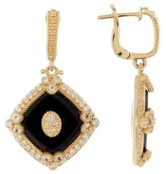 Judith Ripka 14K Gold Plated Sterling Silver Westport Diagonal Cushion Drop Earrings