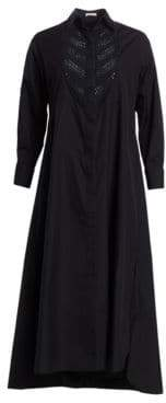 Alaia Popline Soft Embroidered Bib Front Shirtdress