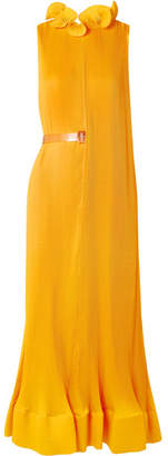 Tibi Ruffled Plissé-satin Midi Dress - Saffron