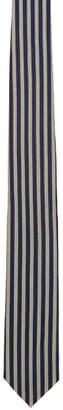 Dries Van Noten Navy and Beige Striped Narrow Tie