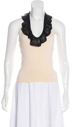 Ralph Lauren Black Label Crochet-Trimmed Silk Top