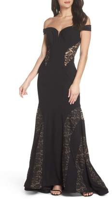 Xscape Evenings Off the Shoulder Lace Inset Gown (Regular & Petite)