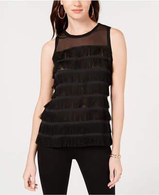 INC International Concepts I.n.c. Illusion-Detail Fringe Tank Top