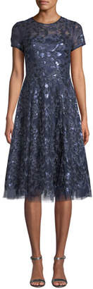 Rickie Freeman For Teri Jon Sequin Tulle Short-Sleeve A-Line Dress