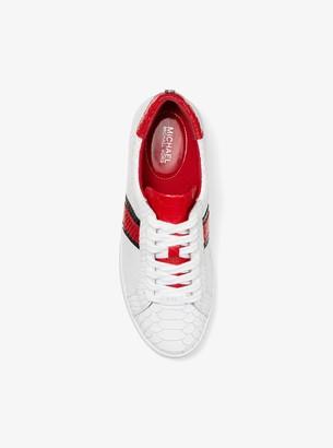 f896d4001839 MICHAEL Michael Kors Irving Snake-Embossed Leather Stripe Sneaker