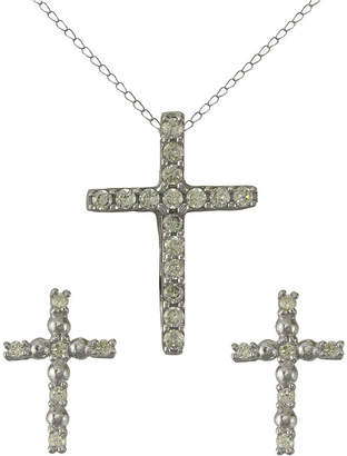 JCPenney FINE JEWELRY Girls Sterling Silver Cubic Zirconia Cross Pendant Necklace & Earring Set