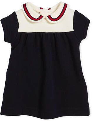 Gucci Peter Pan Web Collar Dress, Size 3-36 Months