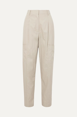 Tibi Finn Cotton-twill Tapered Pants - Beige