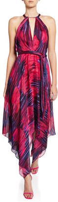 Halston Printed Halter-Neck Handkerchief Dress