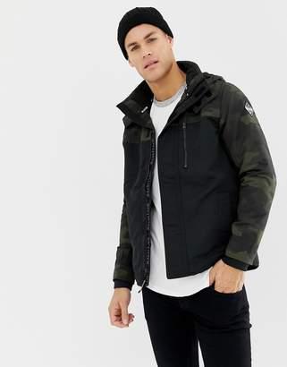 Hollister fleece lined hooded color block jacket in black/camo