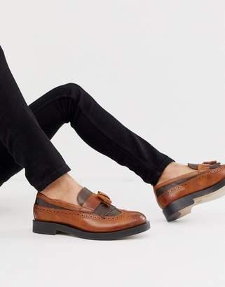 Base London Acker tassel loafer in two tone tan