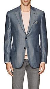 Brioni Men's Ravello Herringbone Silk-Cashmere Two-Button Sportcoat-Blue