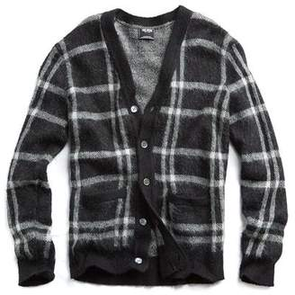 Todd Snyder Brushed Italian Wool Cardigan in Black Check