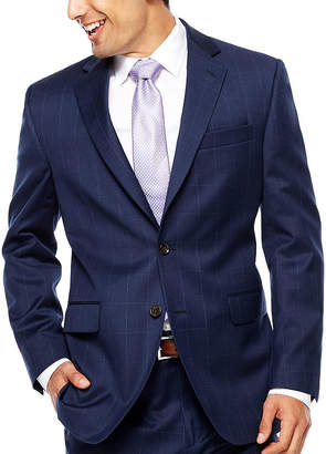 STAFFORD Stafford Super 100's Navy Windowpane Suit Jacket-Classic