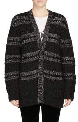 Saint Laurent Fisherman Lurex Knit Cardigan