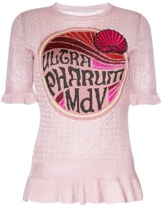 Marco De Vincenzo graphic peplum knitted T-shirt