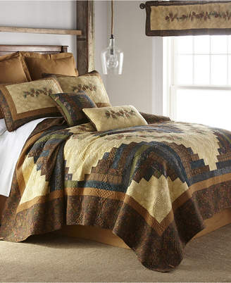 American Heritage Textiles Cabin Raising Pine Cone Cotton Quilt Collection, Queen Bedding