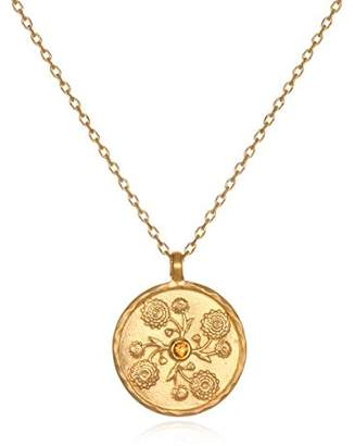 Satya Jewelry White Topaz Plate Daisy April Flower Birthstone (18-Inch) Pendant Necklace