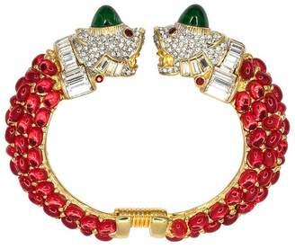 Kenneth Jay Lane Ruby Double Lion Head Bracelet