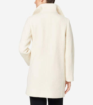 Cole Haan Crumbled Wool Funnel Collar Jacket