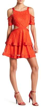 Wow Couture Cutout Lace Cold Shoulder Dress