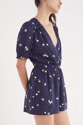 Urban Outfitters Surplice Smocked-Sleeve Romper