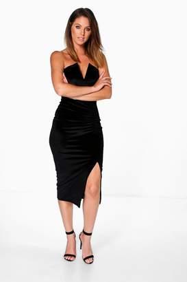 boohoo Lottie Velvet V Plunge Ruched Bandeau Midi Dress